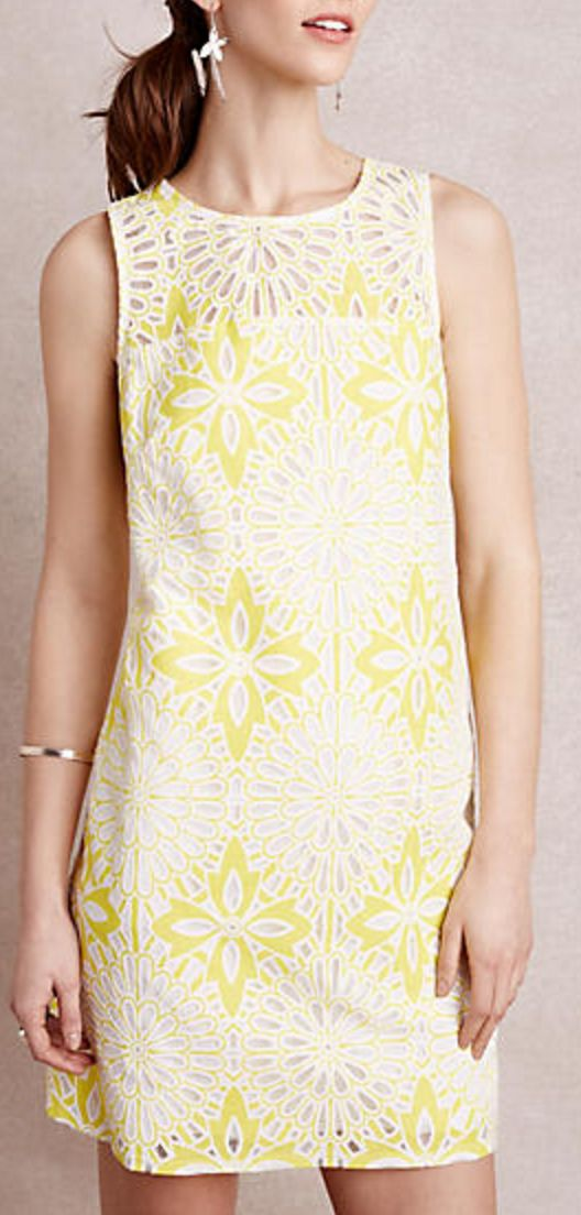 White and Yellow Shift Dress