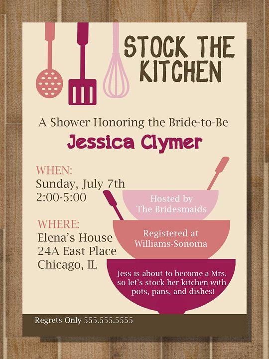 Kitchen shower invitation, Stock the Kitchen, stock the kitchen - printable bridal shower invites