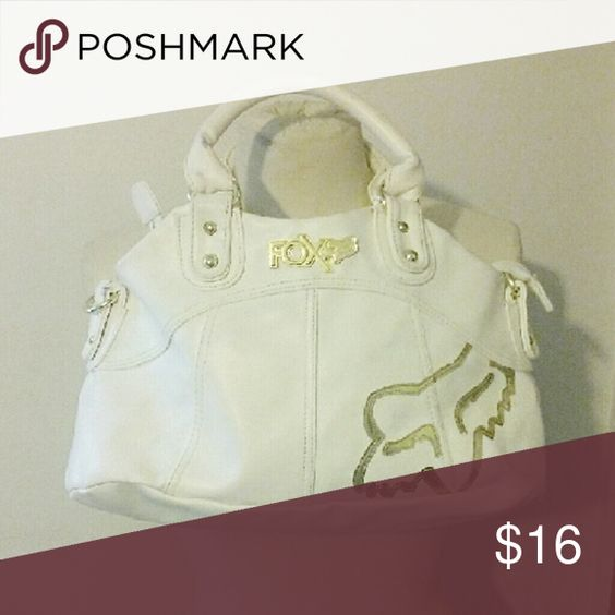 Fox Racing Purse Super cute white and gold Fox Racing bag purse. Used but still in wonderful condition. Couple of small cleanable marks, not really noticeable. Make an offer :) Fox Bags