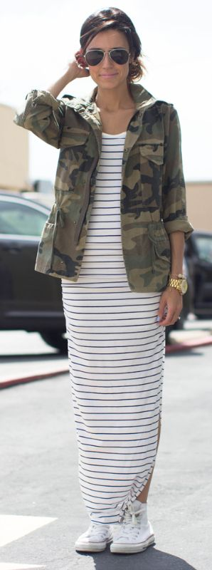 Christine Andrews matches a striped maxi-dress, camouflage jacket and white converse in a refreshing spring look. Dress: Shopbop, Jacket: Shopbop, Shoes: Converse