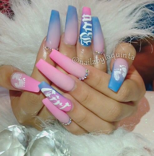 Gender Reveal Nail Art Gender Reveal Nails Baby Nails Baby Girl Nails