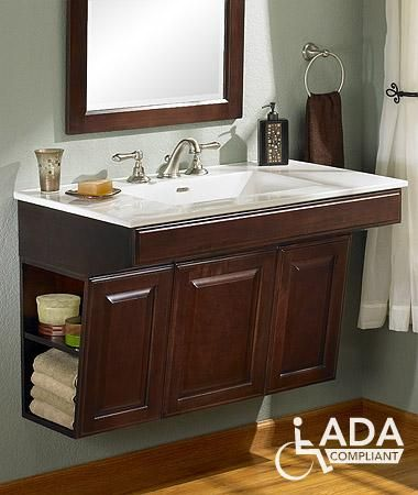 Wall mount vanities and cabinets on pinterest for Ada compliant bathroom sink