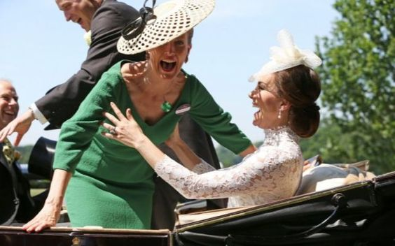 A Royal Ascot fiasco: Duchess of Cambridge catches Sophie, Countess of Wessex as she falls