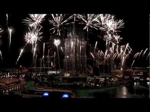 Fogos de artifício relógio Burj Khalifa Ano Novo ao Vivo