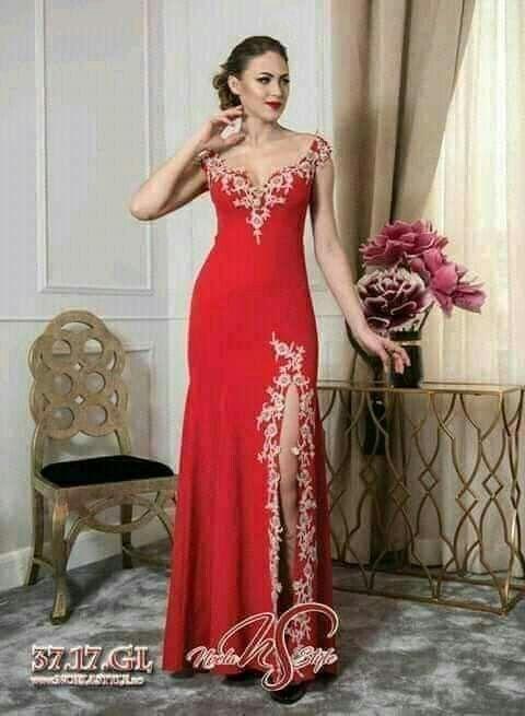 Pin By Mimi Nawara On روب سواري Red Formal Dress Red Chiffon Mermaid Formal Dress