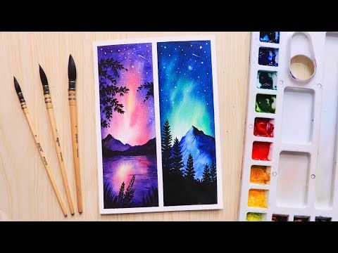 Easy Watercolor Painting Ideas Night Sky For Beginners Step By