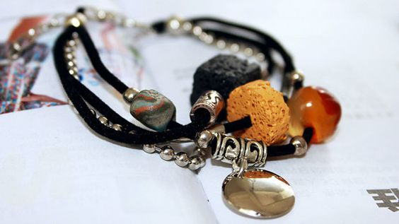 black Cotton rope and Chain Bracelet with Lava by Colourfashion, $7.50