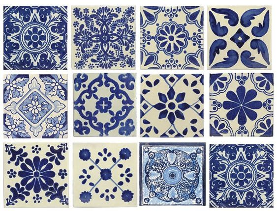 10 large blue white mexican or spanish style tiles for for Spanish decorative tile