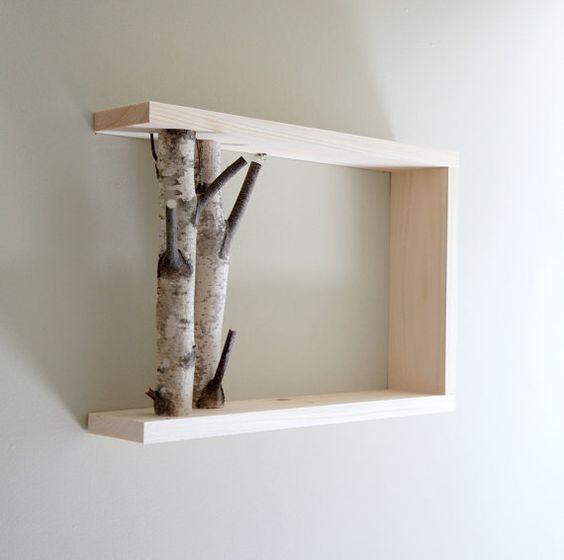 white birch forest - natural white birch wood wall art/shelf. $40.00, via Etsy.: