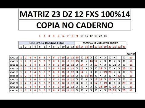 Lotofacil Matriz 23 Dezenas 100 14 Youtube Com Imagens