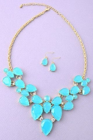 Blue Faux Gemstone Statement Necklace | UOIOnline.com: Women's Clothing Boutique