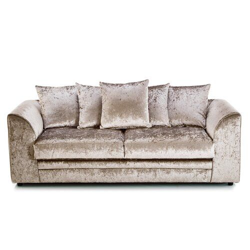 Sophie 3 Seater Sofa Rosdorf Park With Images Crushed Velvet Sofa Silver Velvet Sofa Velvet Sofa