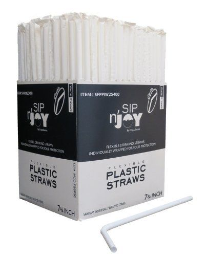 Flexible Straws, White, Individually Wrapped Box of 400 Straws by Crystalware, http://www.amazon.com/dp/B00ASHBWY8/ref=cm_sw_r_pi_dp_Y43vsb0ZVZPSY