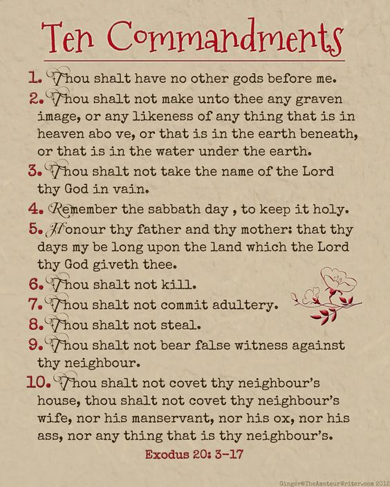 The Amateur Writer: Ten Commandments Printable | Wisdom ...