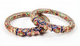 Pair Of Mughal Style Enameled Gold Bracelets