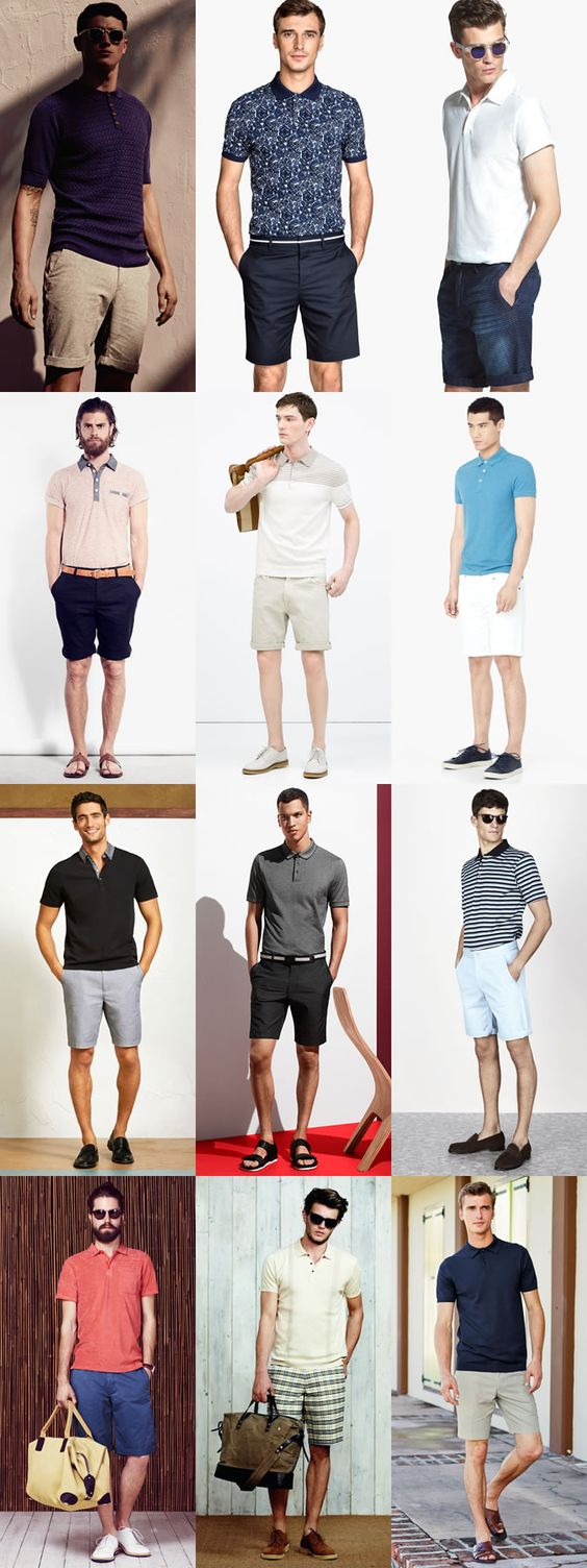 Men's Polo Shirts and Shorts Outfit Inspiration Lookbook