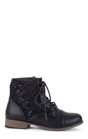 Deb Shops Short Lace Up Combat Boot with Crochet Sides $30.00