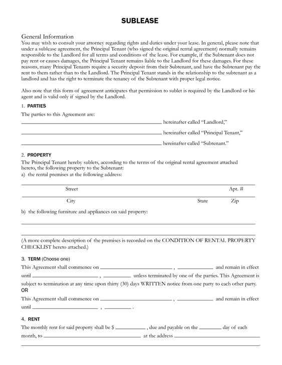 Sublet Rental Agreement SUBLEASE General Information by ayj58676 - rent to own contract sample