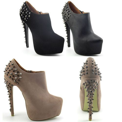 Ladies Studded Heel Womens Suede Platform Stiletto Stud Ankle Boots