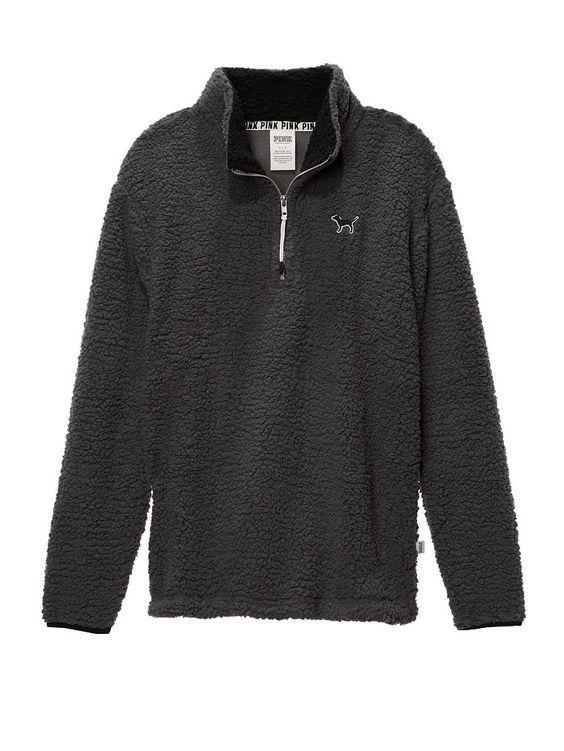 Sherpa Boyfriend Quarter-Zip - PINK - Victoria's Secret