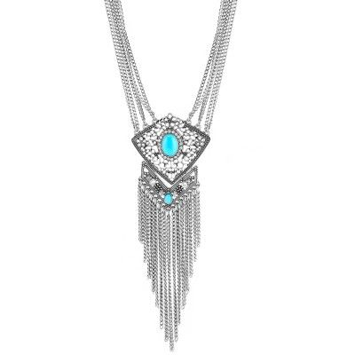 Silver-Tone Turquoise White Crystal Tassel Necklace from Costumejewelry1.com