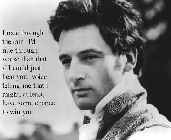Mr. Knightley: I rode through the rain! I'd - I'd ride through worse than that if I could just hear your voice telling me that I might, at least, have some chance to win you. - Jeremy Northam, Mr. Knightley - Emma directed by Douglas McGrath (1996) #janeausten #fanart