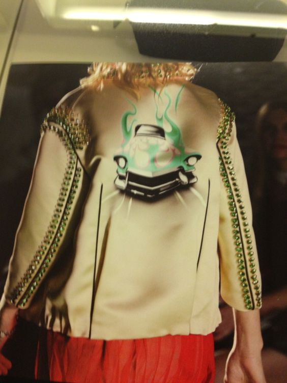 New Prada Runway Flame/Car studded Gold Jacket! Just a piece of art..