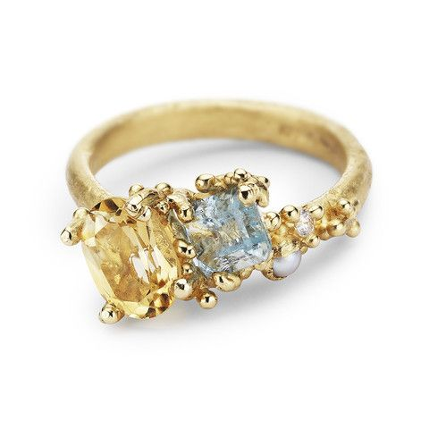 Ruth Tomlinson 14ct yellow gold asymmetric cocktail ring featuring citrine, aquamarine, pearl and white diamonds, handmade in London