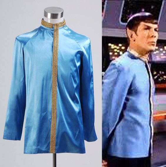 Star Trek First Officer Spock Blue Satin Jacket Shirt Costume Cosplay Halloween