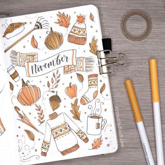 Bullet Journal à thème : l'automne est là (page par @amandarachlee)