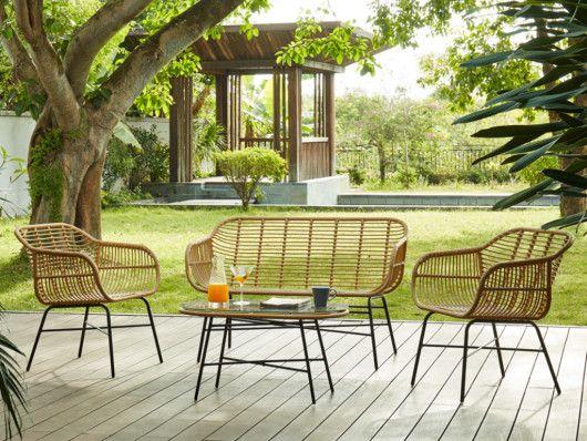 Salon De Jardin Nosara En Resine Tressee Beige Un Canape 2 Places 2 Fauteuils Et Une Table Basse Assise Noire Francie