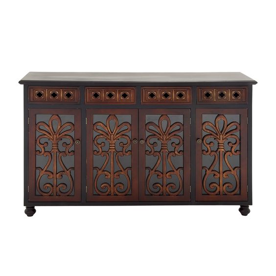 Brown and Glass Cabinet