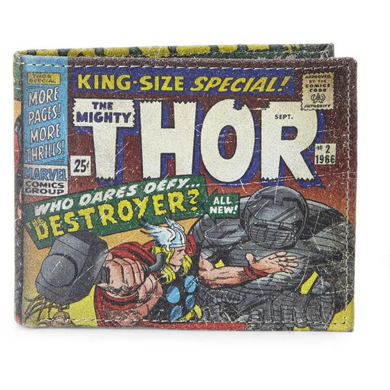 MARVEL Thor Slimfold Wallet (€16) ❤ liked on Polyvore featuring bags, wallets, marvel bag, genuine leather wallet, real leather bags, credit card holder wallet and leather pocket wallet