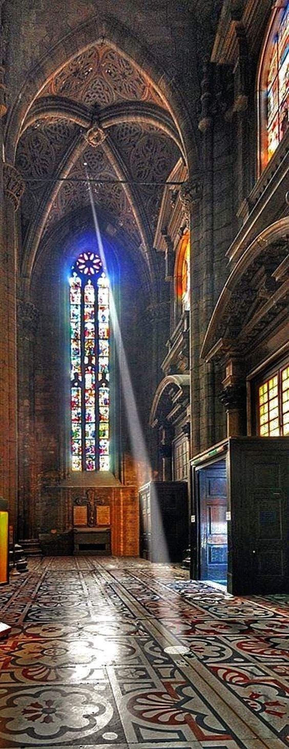 Duomo Milano. Near the main entrance is a sundial, engraved with zodiac symbols…