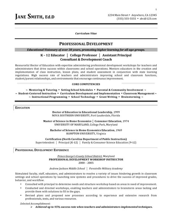 Assistant School Principal Resume or CV Sample aka Vice - college professor resume