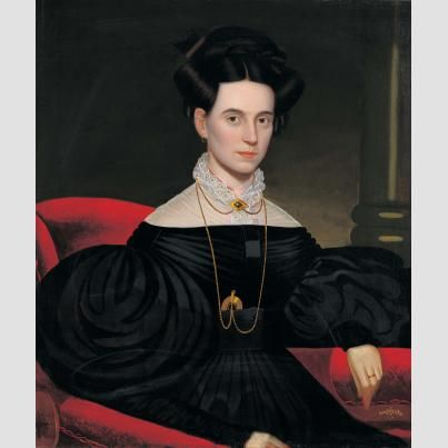 Lady on Red Sofa Attributed to John S. Blunt