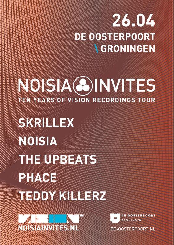 Noisia Invites neemt 26 april wel een hele bijzondere gast mee naar De Oosterpoort: Skrillex! Ook Noisia zelf, The Upbeats, PHACE en Teddy Killerz staan op de line-up. Kaarten: http://bit.ly/1EFQhjz