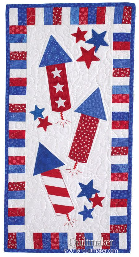 Red Rockets quilt pattern: Easy fusible applique is perfect for creating a quick summer wall quilt! This pattern was designed by Margie Ullery.
