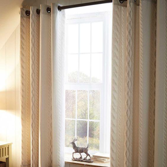 Aran Natural Eyelet Lined Curtains