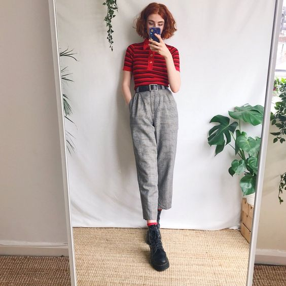Beautiful true vintage high waisted checked trousers, in a - - Depop