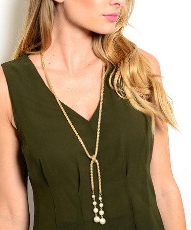 Loving this Goldtone & Pearl Split-Strand Necklace on #zulily! #zulilyfinds
