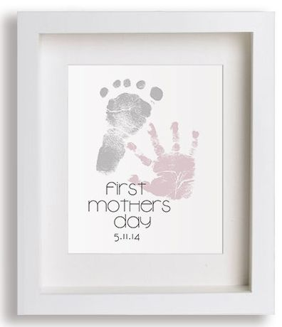 """First Mother's Day Gifts for Her:  Personalized """"First Mother's Day"""" Art Print with Hand and Foot Prints by Pitter Patter Print @ Etsy"""