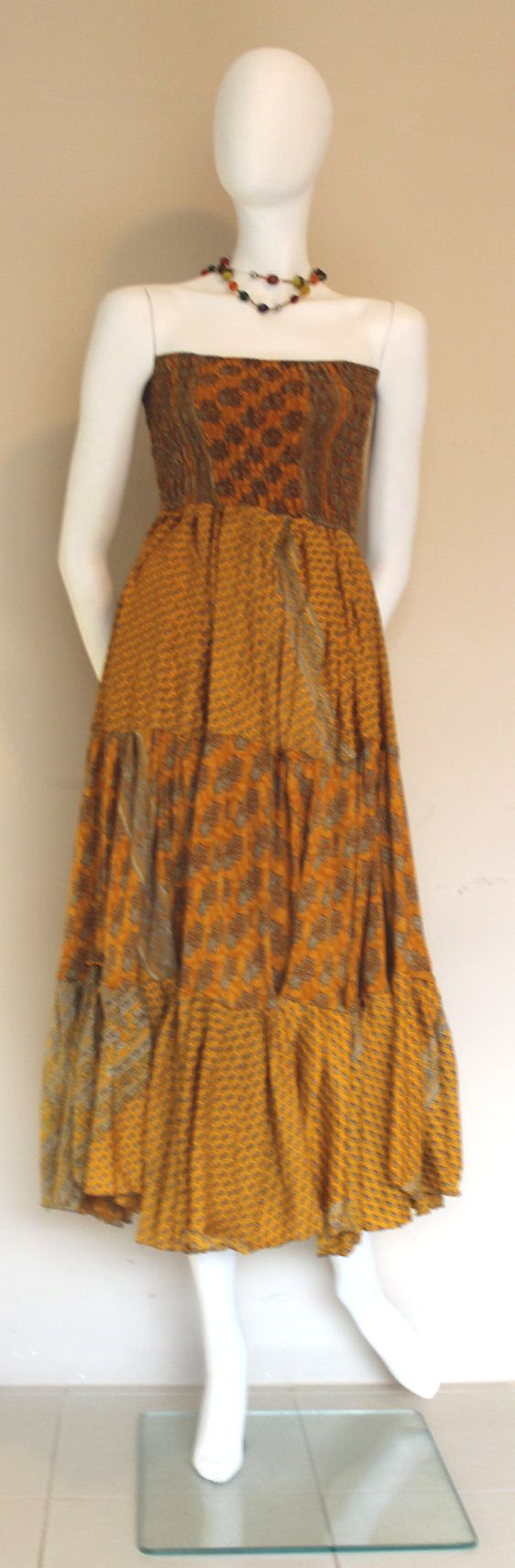 Tube Dress  Vintage silk / Silk Dress / Yellow by SilkinaFashions