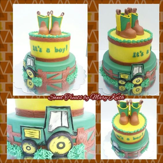 Cowboy boot topper baby boy shower cake - With an edible cowboy boot topper and a small John Deere tractor.