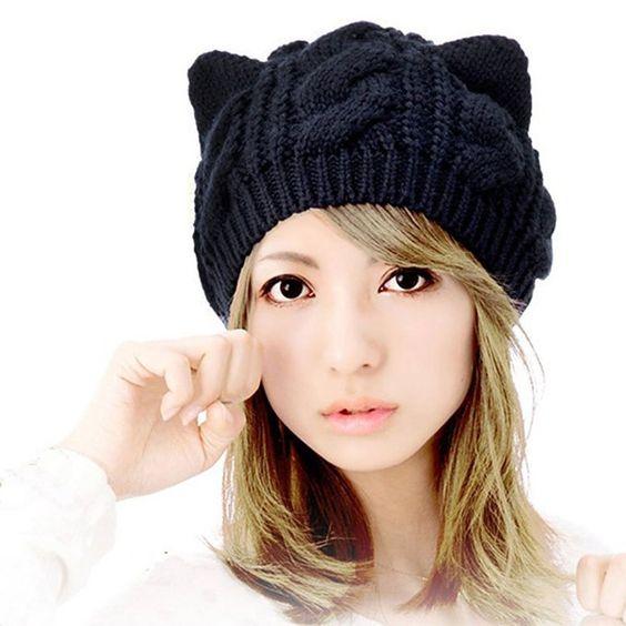 Springwell Women's Hat Cat Ear Crochet Braided Knit Caps (one size, black)