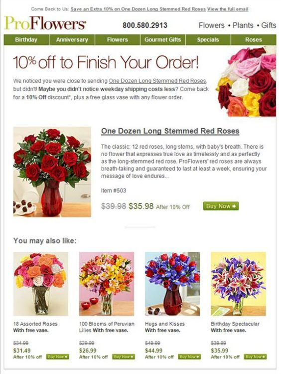 Cart abandonment email from ProFlowers