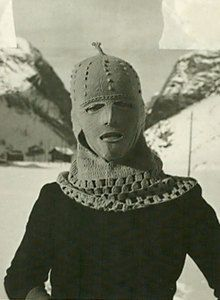 Schiap-ski-hood-  I love Schiaparelli, but this looks like a ski-hood for a serial killer.