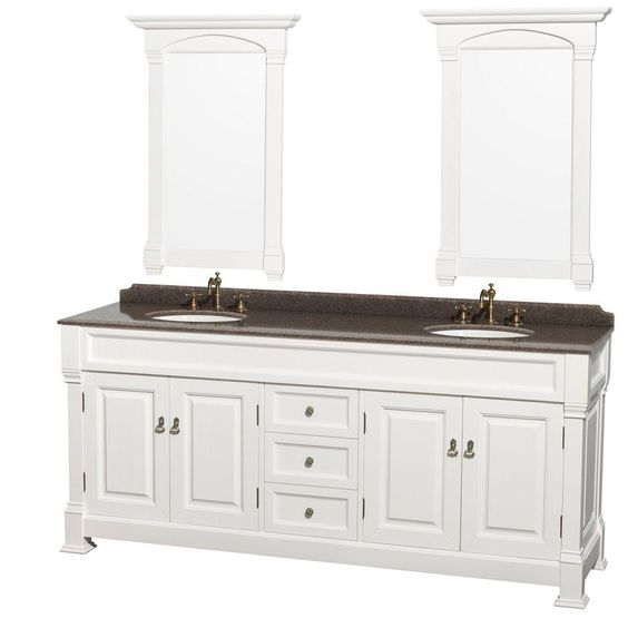 Wyndham Collection Andover 80 in. W x 23 in. D Vanity in White with Granite Vanity Top in Imperial Brown with White Basins and Mirrors