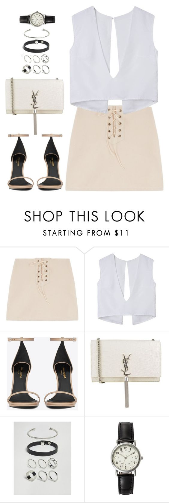 """""""Untitled#4578"""" by fashionnfacts ❤ liked on Polyvore featuring Yves Saint Laurent, ASOS and FOSSIL"""