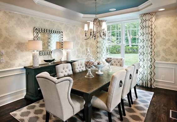 The Chic Technique:  Superb Buffet Table Design Ideas in Dining Room Transitional design ideas with area rug beige dining chairs blue buffet
